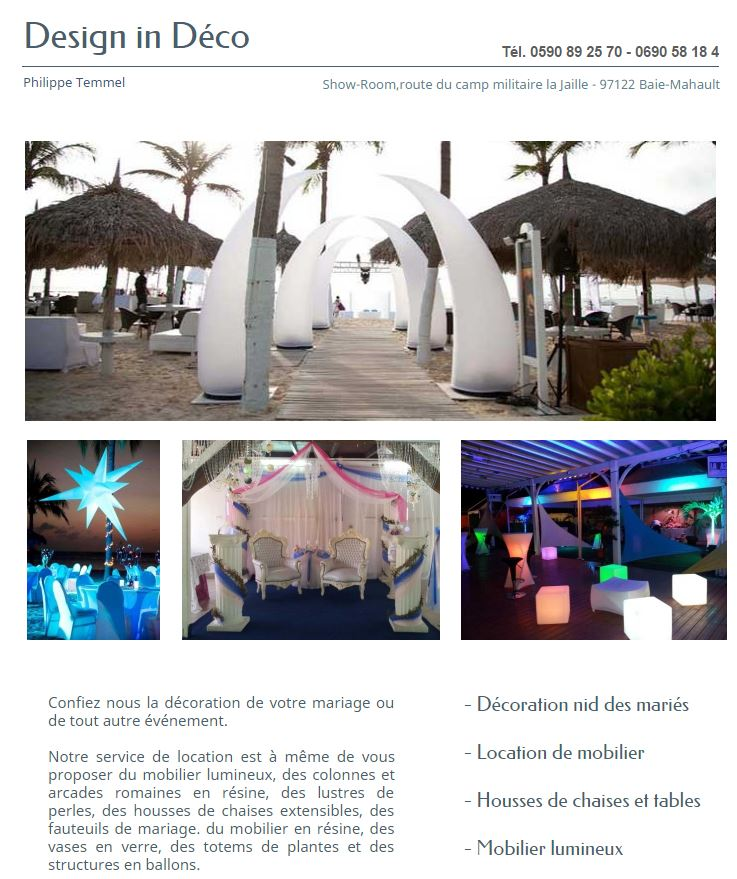design in dco - Traiteur Mariage Guadeloupe